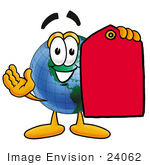 #24062 Clip Art Graphic Of A World Globe Cartoon Character Holding A Red Sales Price Tag