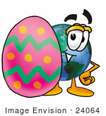 #24064 Clip Art Graphic Of A World Globe Cartoon Character Standing Beside An Easter Egg