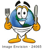 #24065 Clip Art Graphic Of A World Globe Cartoon Character Holding A Knife And Fork