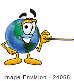 #24068 Clip Art Graphic Of A World Globe Cartoon Character Holding A Pointer Stick