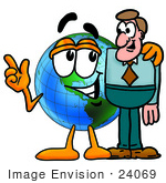 #24069 Clip Art Graphic Of A World Globe Cartoon Character Talking To A Business Man