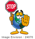 #24070 Clip Art Graphic of a World Globe Cartoon Character Holding a Stop Sign by toons4biz