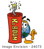 #24073 Clip Art Graphic Of A World Globe Cartoon Character Standing With A Lit Stick Of Dynamite