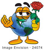 #24074 Clip Art Graphic of a World Globe Cartoon Character Holding a Red Rose on Valentines Day by toons4biz