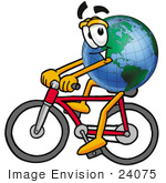 #24075 Clip Art Graphic Of A World Globe Cartoon Character Riding A Bicycle