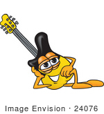 #24076 Clip Art Graphic Of A Yellow Electric Guitar Cartoon Character Resting His Head On His Hand