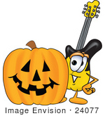 #24077 Clip Art Graphic Of A Yellow Electric Guitar Cartoon Character With A Carved Halloween Pumpkin