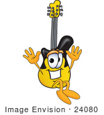 #24080 Clip Art Graphic Of A Yellow Electric Guitar Cartoon Character Jumping by toons4biz