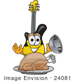 #24081 Clip Art Graphic Of A Yellow Electric Guitar Cartoon Character Serving A Thanksgiving Turkey On A Platter