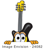#24082 Clip Art Graphic Of A Yellow Electric Guitar Cartoon Character Peeking Over A Surface by toons4biz
