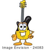 #24083 Clip Art Graphic Of A Yellow Electric Guitar Cartoon Character Pointing At The Viewer