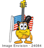 #24084 Clip Art Graphic Of A Yellow Electric Guitar Cartoon Character Pledging Allegiance To An American Flag