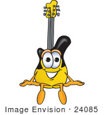 #24085 Clip Art Graphic Of A Yellow Electric Guitar Cartoon Character Sitting