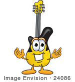 #24086 Clip Art Graphic Of A Yellow Electric Guitar Cartoon Character With Welcoming Open Arms