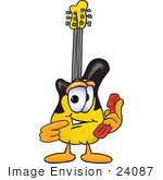 #24087 Clip Art Graphic Of A Yellow Electric Guitar Cartoon Character Holding A Telephone