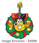 #24088 Clip Art Graphic Of A Yellow Electric Guitar Cartoon Character In The Center Of A Christmas Wreath