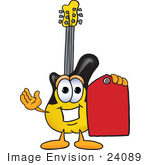#24089 Clip Art Graphic Of A Yellow Electric Guitar Cartoon Character Holding A Red Sales Price Tag by toons4biz