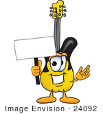 #24092 Clip Art Graphic Of A Yellow Electric Guitar Cartoon Character Holding A Blank Sign