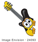 #24093 Clip Art Graphic Of A Yellow Electric Guitar Cartoon Character Peeking Around A Corner
