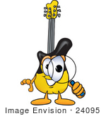 #24095 Clip Art Graphic Of A Yellow Electric Guitar Cartoon Character Looking Through A Magnifying Glass