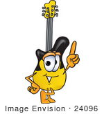 #24096 Clip Art Graphic Of A Yellow Electric Guitar Cartoon Character Pointing Upwards