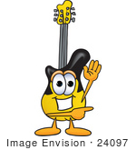#24097 Clip Art Graphic Of A Yellow Electric Guitar Cartoon Character Waving And Pointing