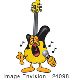 #24098 Clip Art Graphic Of A Yellow Electric Guitar Cartoon Character Singing Loud Into A Microphone