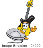 #24099 Clip Art Graphic Of A Yellow Electric Guitar Cartoon Character With A Computer Mouse