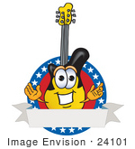 #24101 Clip Art Graphic Of A Yellow Electric Guitar Cartoon Character Label With Stars