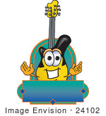 #24102 Clip Art Graphic Of A Yellow Electric Guitar Cartoon Character Label