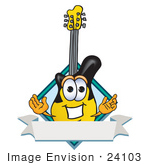 #24103 Clip Art Graphic Of A Yellow Electric Guitar Cartoon Character Label