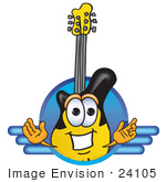 #24105 Clip Art Graphic Of A Yellow Electric Guitar Cartoon Character Logo