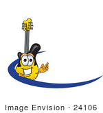 #24106 Clip Art Graphic Of A Yellow Electric Guitar Cartoon Character Logo With A Blue Dash