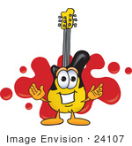 #24107 Clip Art Graphic Of A Yellow Electric Guitar Cartoon Character Logo With Red Paint Splatters