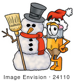 #24110 Clip Art Graphic Of A Yellow Number 2 Pencil With An Eraser Cartoon Character With A Snowman On Christmas