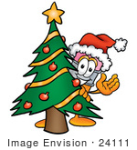 #24111 Clip Art Graphic Of A Yellow Number 2 Pencil With An Eraser Cartoon Character Waving And Standing By A Decorated Christmas Tree
