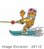 #24112 Clip Art Graphic Of A Yellow Number 2 Pencil With An Eraser Cartoon Character Waving While Water Skiing
