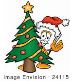 #24115 Clip Art Graphic of a White Copy and Printer Paper Cartoon Character Waving and Standing by a Decorated Christmas Tree by toons4biz