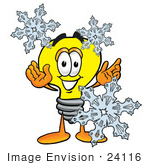 #24116 Clip Art Graphic Of A Yellow Electric Lightbulb Cartoon Character With Three Snowflakes In Winter
