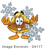 #24117 Clip Art Graphic Of A Yellow Safety Hardhat Cartoon Character With Three Snowflakes In Winter