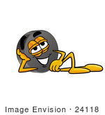 #24118 Clip Art Graphic Of An Ice Hockey Puck Cartoon Character Resting His Head On His Hand
