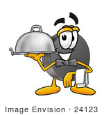 #24123 Clip Art Graphic Of An Ice Hockey Puck Cartoon Character Dressed As A Waiter And Holding A Serving Platter