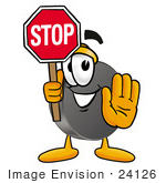 #24126 Clip Art Graphic Of An Ice Hockey Puck Cartoon Character Holding A Stop Sign