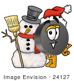 #24127 Clip Art Graphic Of An Ice Hockey Puck Cartoon Character With A Snowman On Christmas