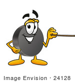 #24128 Clip Art Graphic Of An Ice Hockey Puck Cartoon Character Holding A Pointer Stick