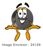 #24129 Clip Art Graphic Of An Ice Hockey Puck Cartoon Character Sitting