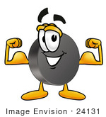 #24131 Clip Art Graphic Of An Ice Hockey Puck Cartoon Character Flexing His Arm Muscles