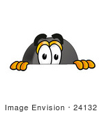 #24132 Clip Art Graphic Of An Ice Hockey Puck Cartoon Character Peeking Over A Surface