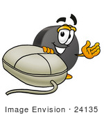 #24135 Clip Art Graphic Of An Ice Hockey Puck Cartoon Character With A Computer Mouse