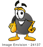 #24137 Clip Art Graphic Of An Ice Hockey Puck Cartoon Character Pointing At The Viewer